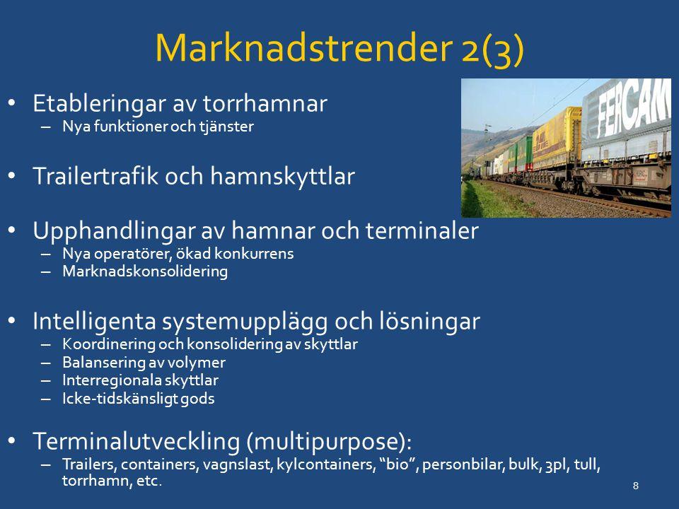 Marknadstrender 2(3) Etableringar av torrhamnar