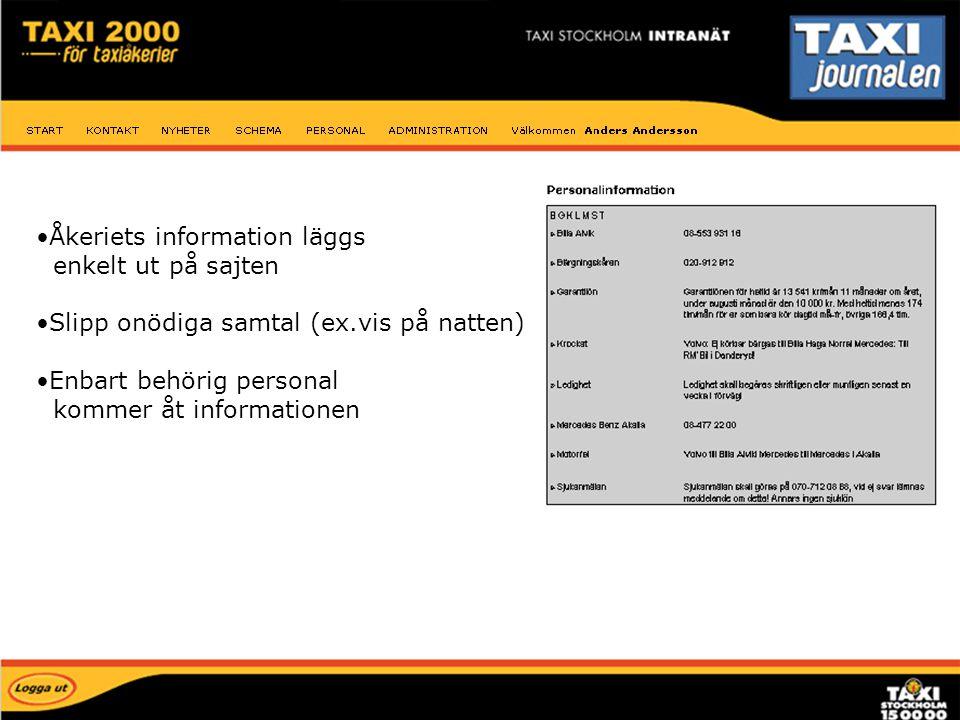 Personal information Åkeriets information läggs enkelt ut på sajten
