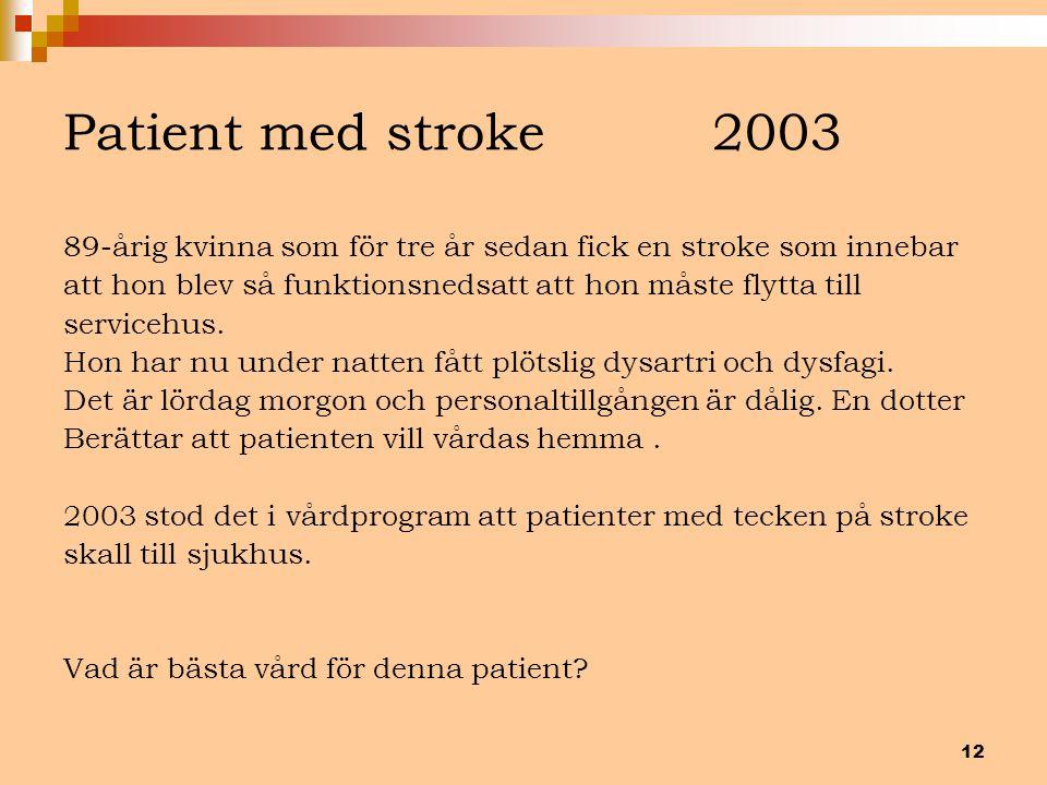 Patient med stroke 2003 89-årig kvinna som för tre år sedan fick en stroke som innebar.