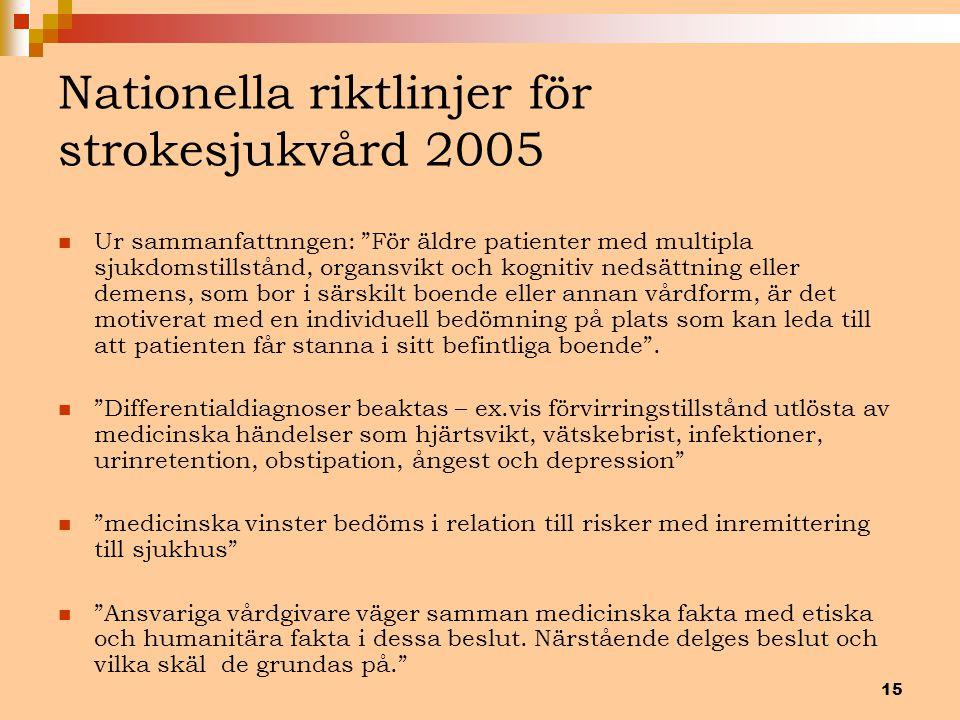 Nationella riktlinjer för strokesjukvård 2005