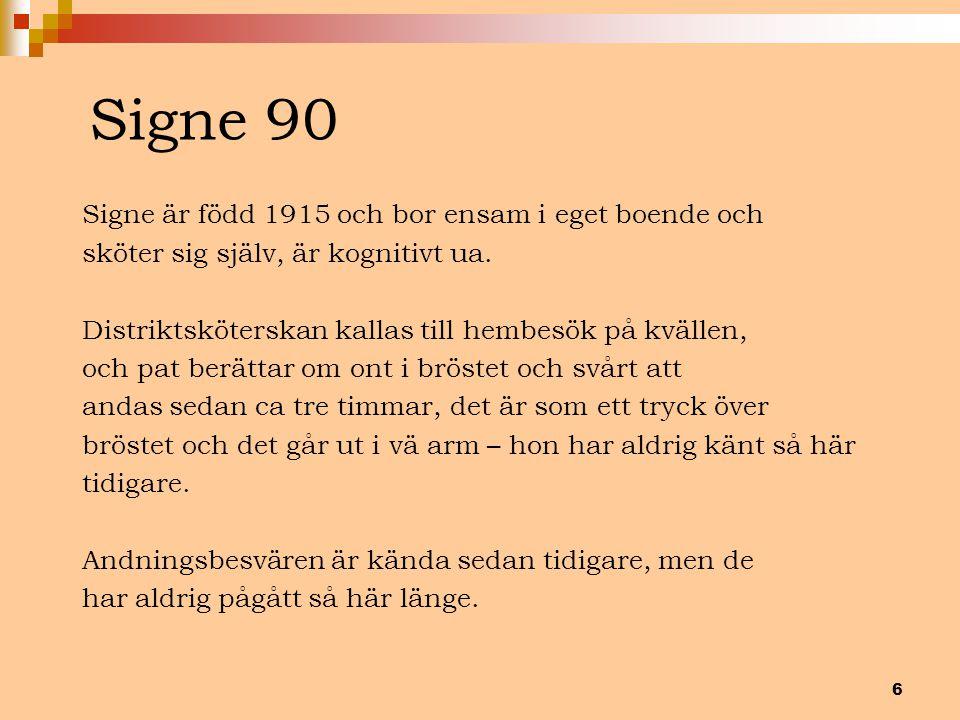 Signe 90 Signe är född 1915 och bor ensam i eget boende och