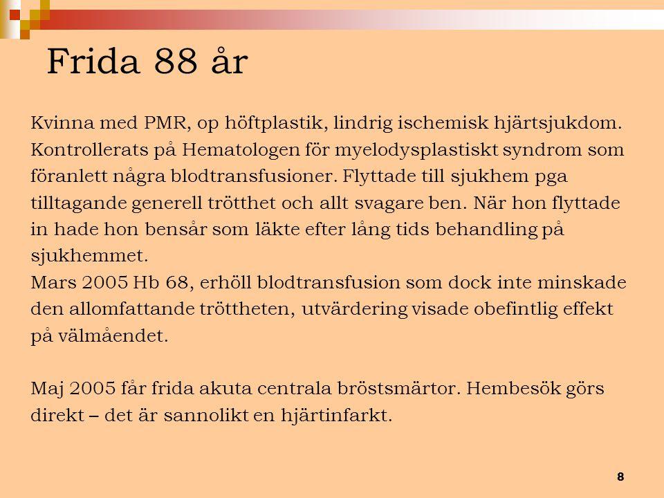 Frida 88 år Kvinna med PMR, op höftplastik, lindrig ischemisk hjärtsjukdom. Kontrollerats på Hematologen för myelodysplastiskt syndrom som.