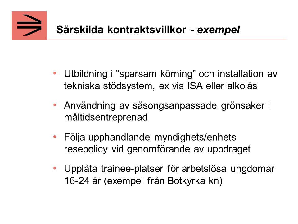 Särskilda kontraktsvillkor - exempel