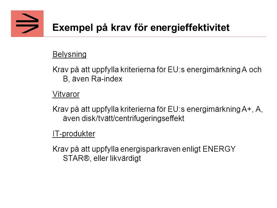 Exempel på krav för energieffektivitet