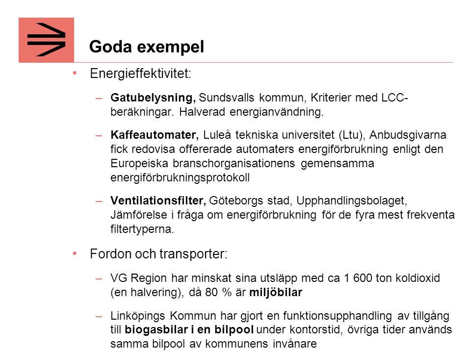 Goda exempel Energieffektivitet: Fordon och transporter: