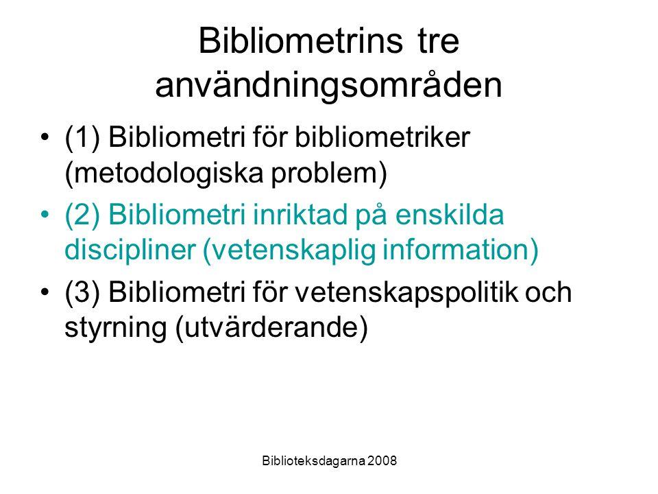 Bibliometrins tre användningsområden