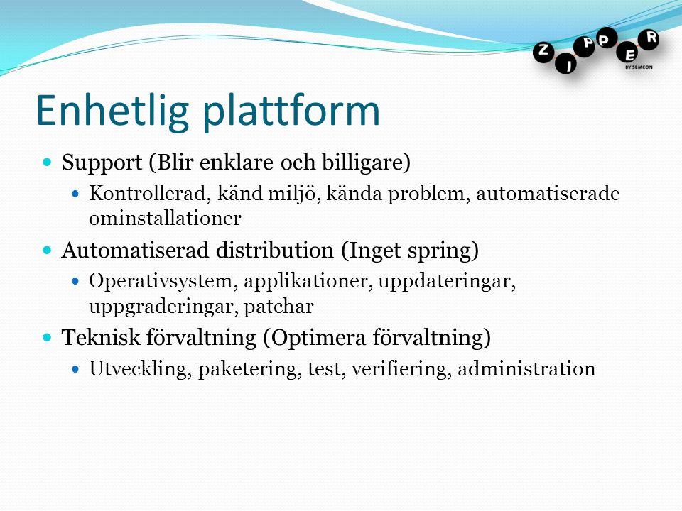 Enhetlig plattform Support (Blir enklare och billigare)