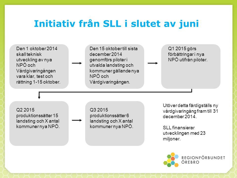 Initiativ från SLL i slutet av juni