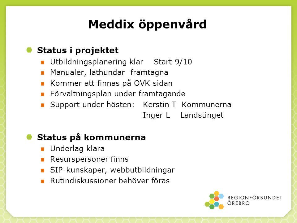 Meddix öppenvård Status i projektet Status på kommunerna