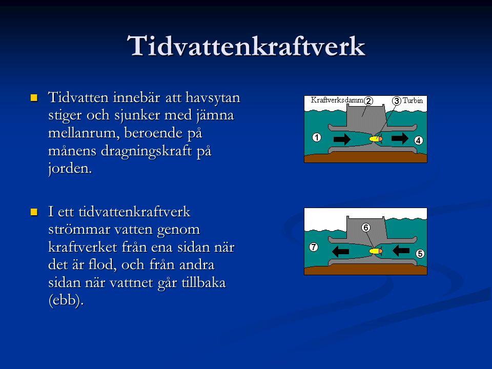 Tidvattenkraftverk Tidvatten innebär att havsytan stiger och sjunker med jämna mellanrum, beroende på månens dragningskraft på jorden.