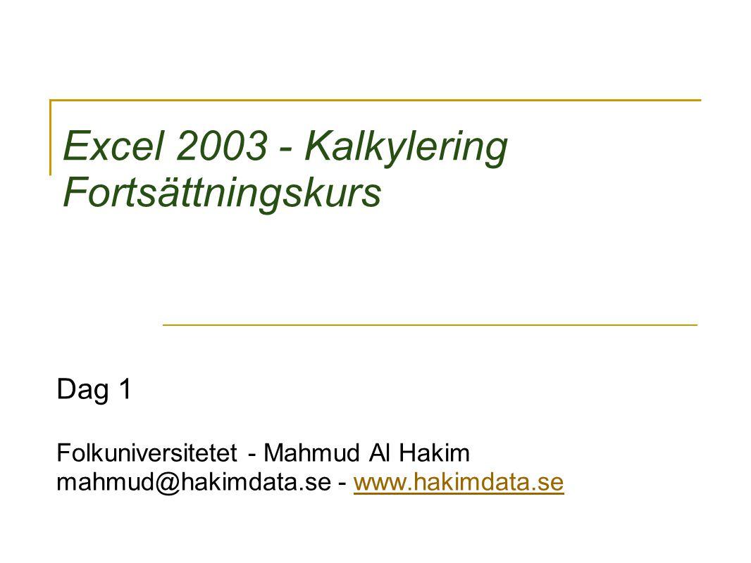 Excel 2003 - Kalkylering Fortsättningskurs