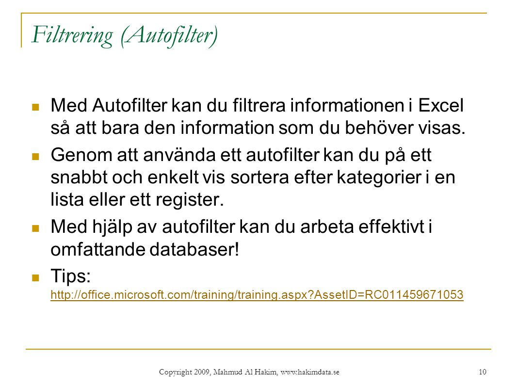 Filtrering (Autofilter)