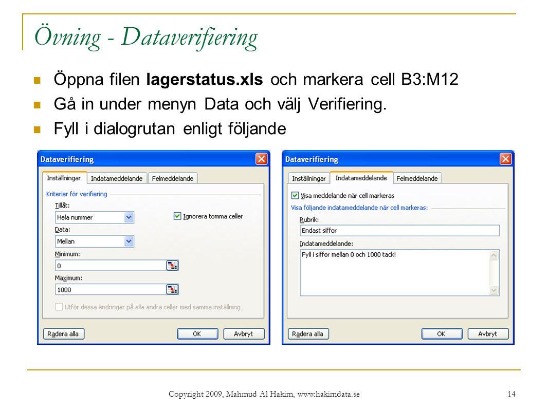 Övning - Dataverifiering