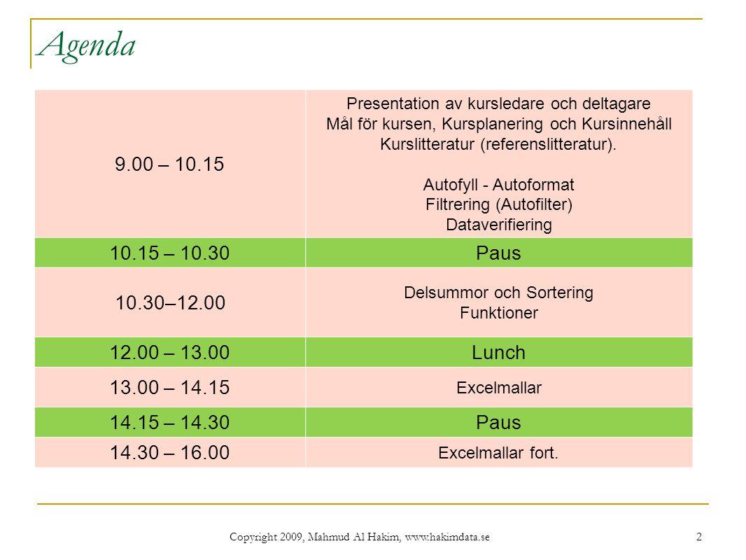Agenda 9.00 – 10.15. Presentation av kursledare och deltagare Mål för kursen, Kursplanering och Kursinnehåll Kurslitteratur (referenslitteratur).