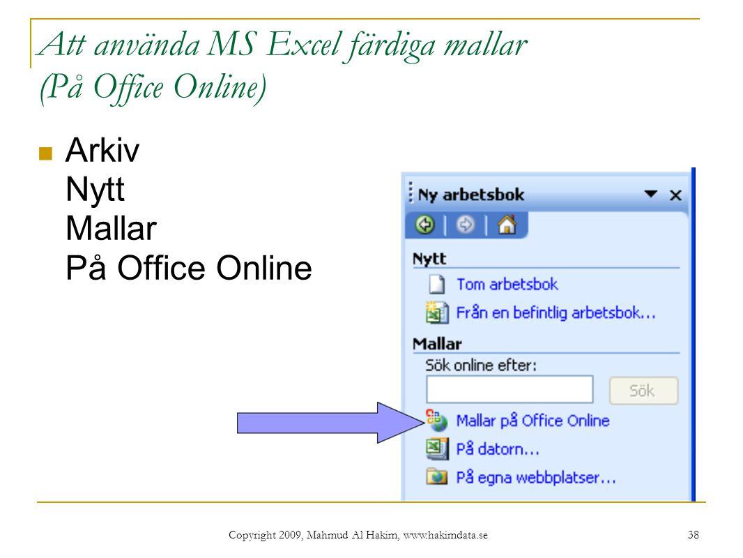 Att använda MS Excel färdiga mallar (På Office Online)