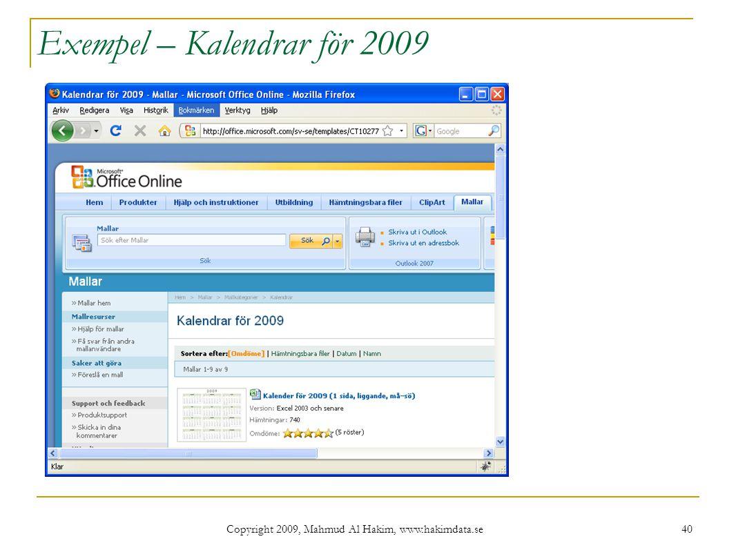 Exempel – Kalendrar för 2009