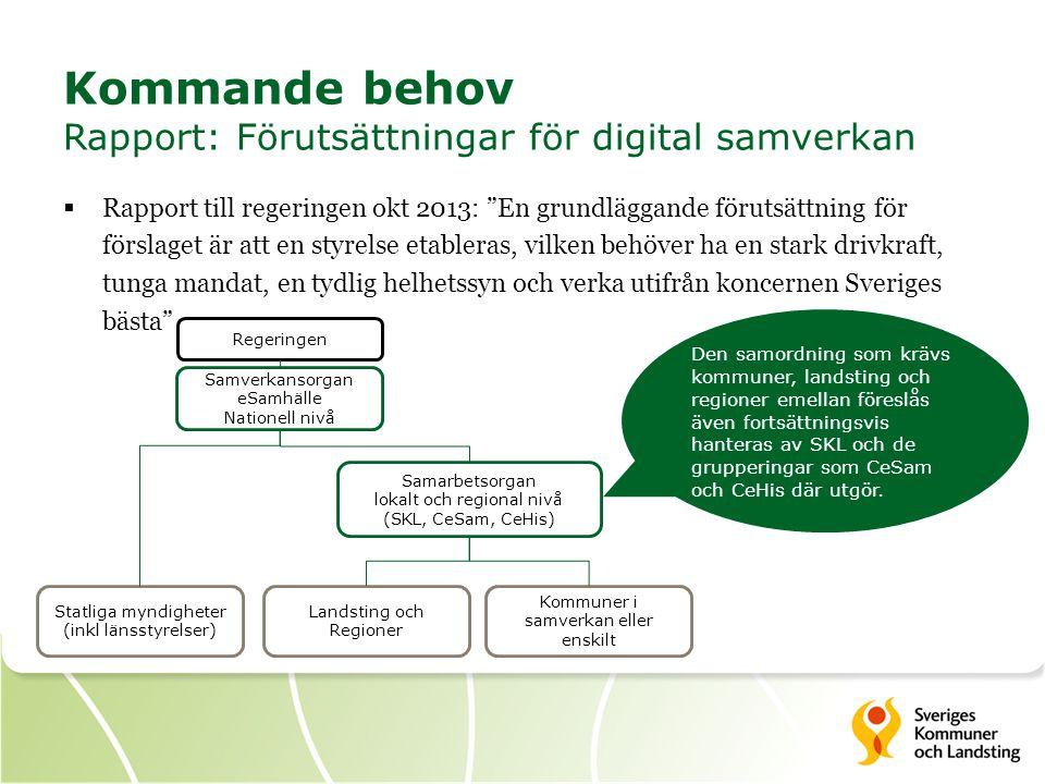 Kommande behov Rapport: Förutsättningar för digital samverkan