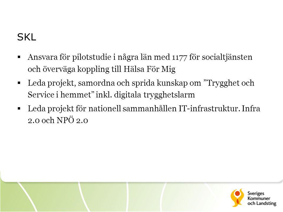 SKL Ansvara för pilotstudie i några län med 1177 för socialtjänsten och överväga koppling till Hälsa För Mig.