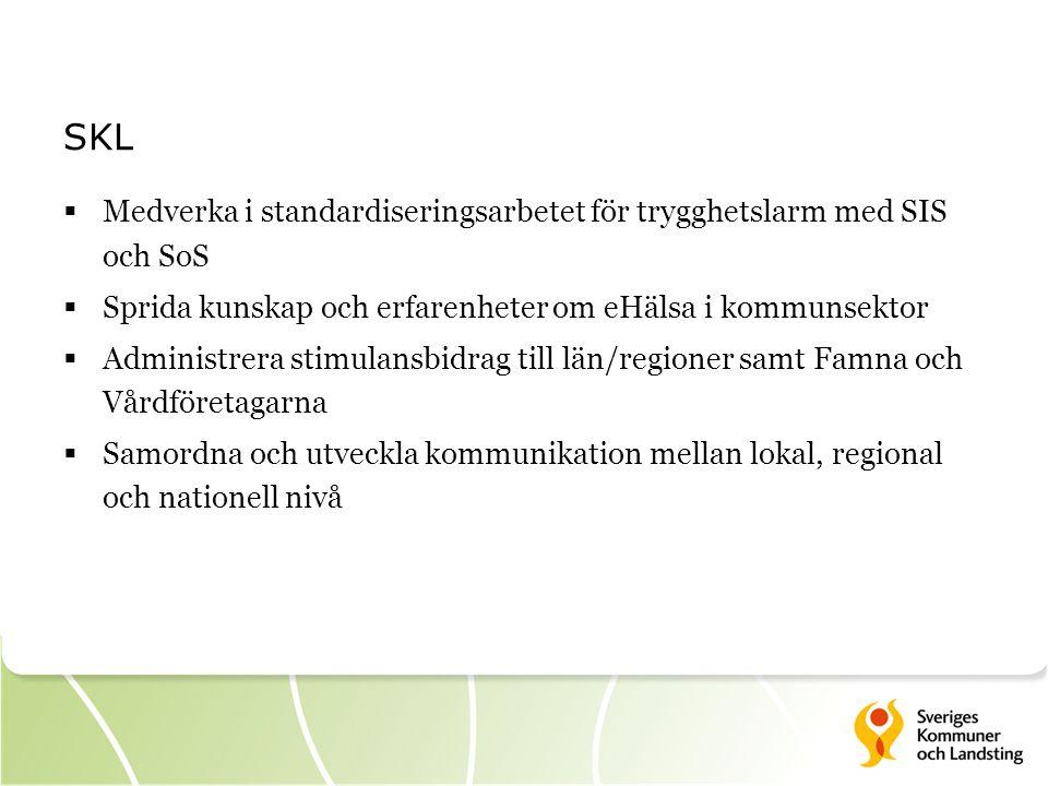 SKL Medverka i standardiseringsarbetet för trygghetslarm med SIS och SoS. Sprida kunskap och erfarenheter om eHälsa i kommunsektor.