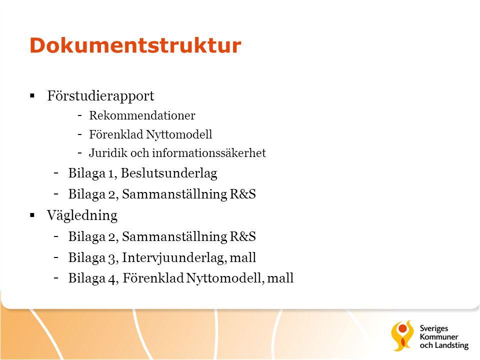Dokumentstruktur Förstudierapport Vägledning Bilaga 1, Beslutsunderlag