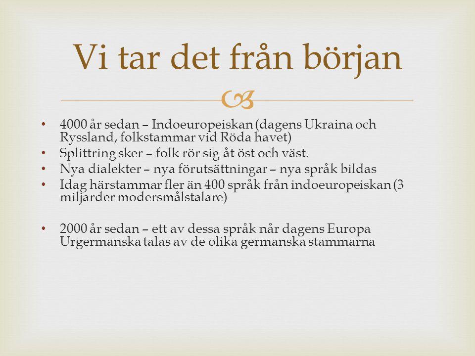 Vi tar det från början 4000 år sedan – Indoeuropeiskan (dagens Ukraina och Ryssland, folkstammar vid Röda havet)
