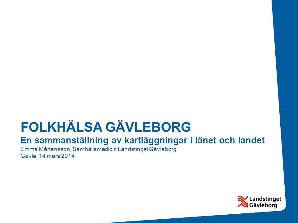 FOLKHÄLSA GÄVLEBORG En sammanställning av kartläggningar i länet och landet Emma Mårtensson, Samhällsmedicin Landstinget Gävleborg Gävle, 14 mars 2014
