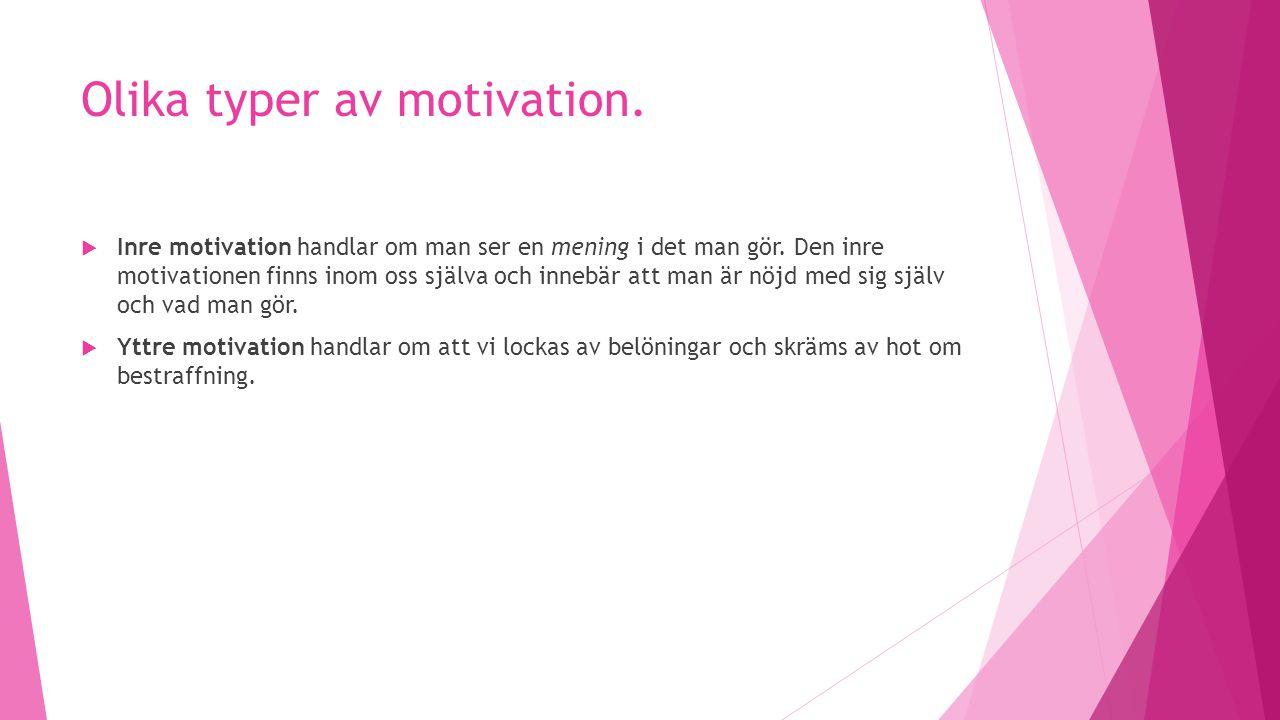 Olika typer av motivation.