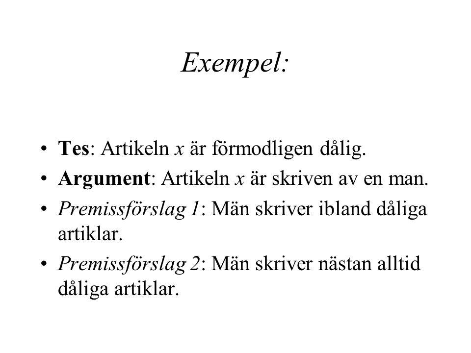 Exempel: Tes: Artikeln x är förmodligen dålig.