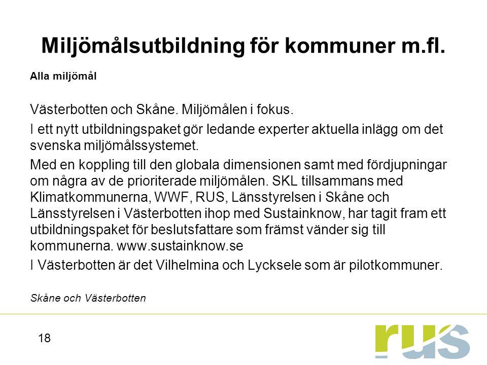Miljömålsutbildning för kommuner m.fl.
