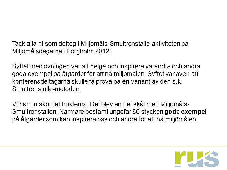 Tack alla ni som deltog i Miljömåls-Smultronställe-aktiviteten på Miljömålsdagarna i Borgholm 2012!