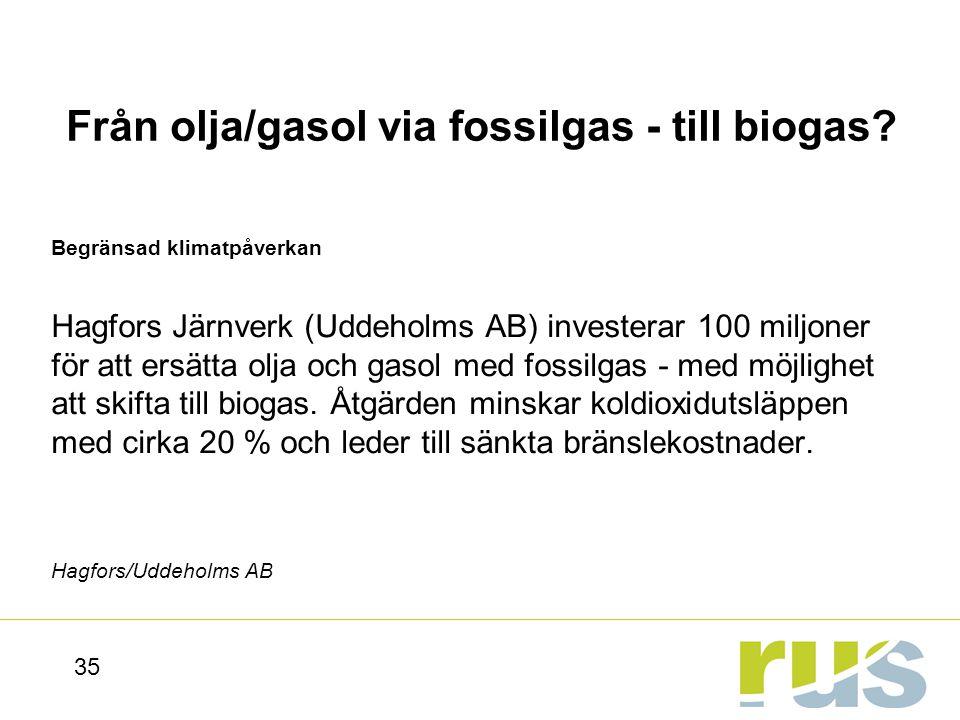 Från olja/gasol via fossilgas - till biogas