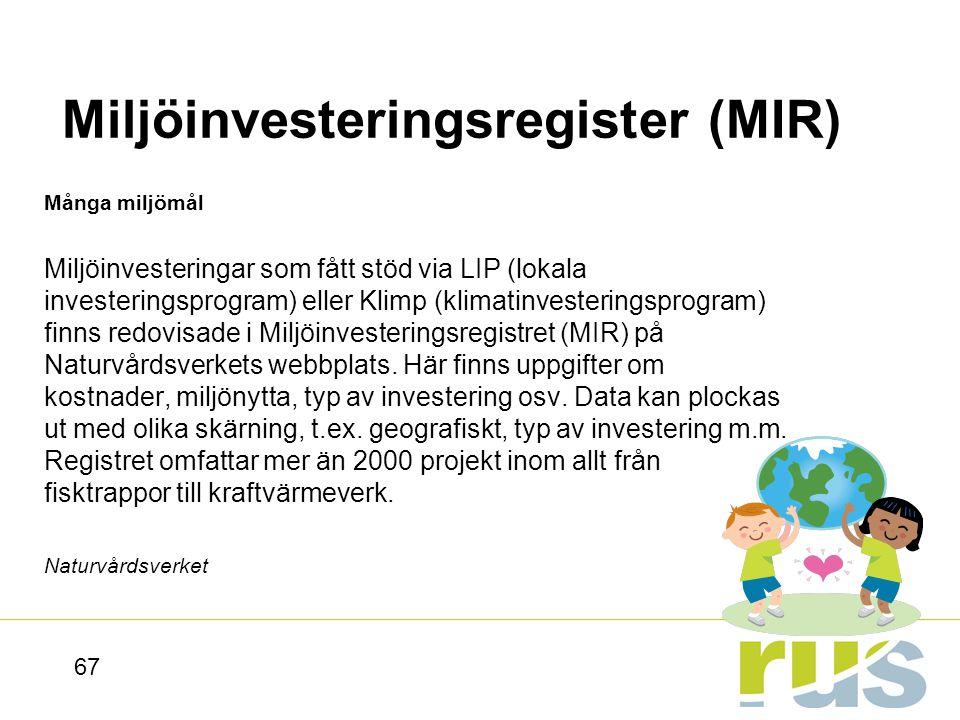 Miljöinvesteringsregister (MIR)
