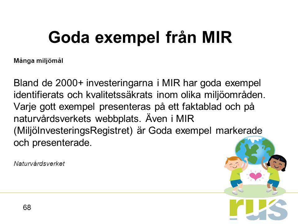 Goda exempel från MIR Många miljömål.
