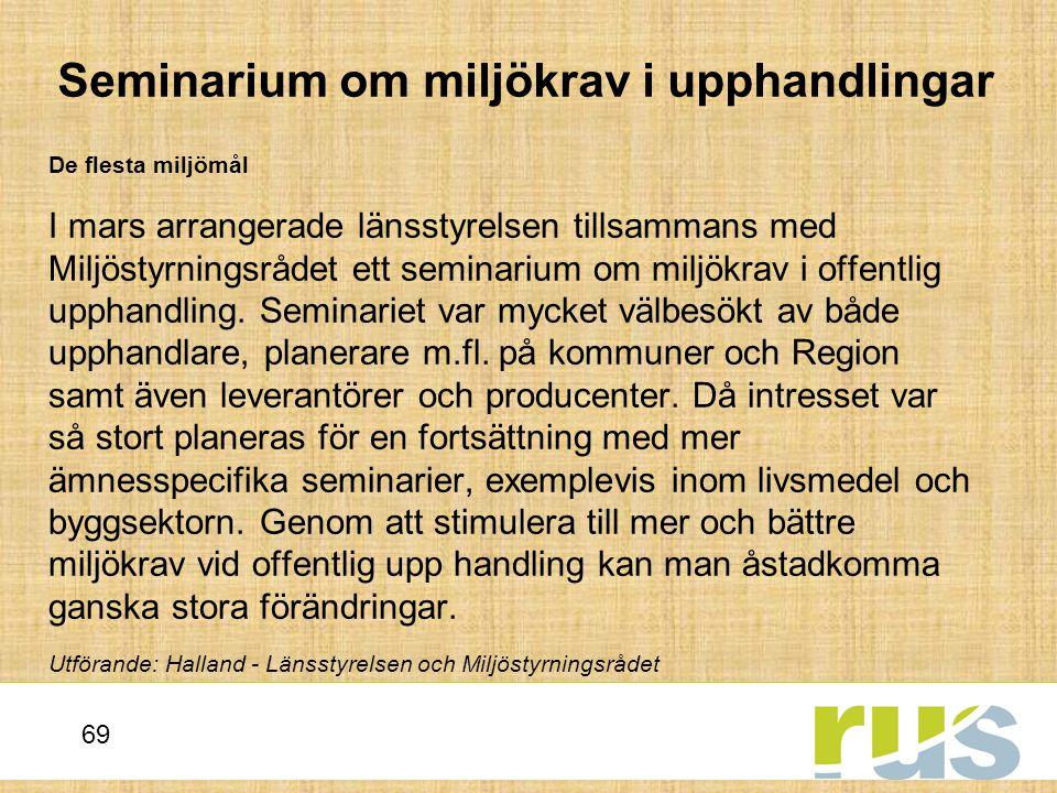 Seminarium om miljökrav i upphandlingar
