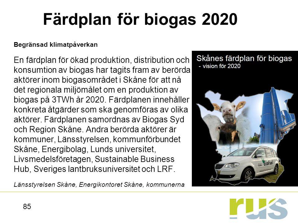 Färdplan för biogas 2020 Begränsad klimatpåverkan.