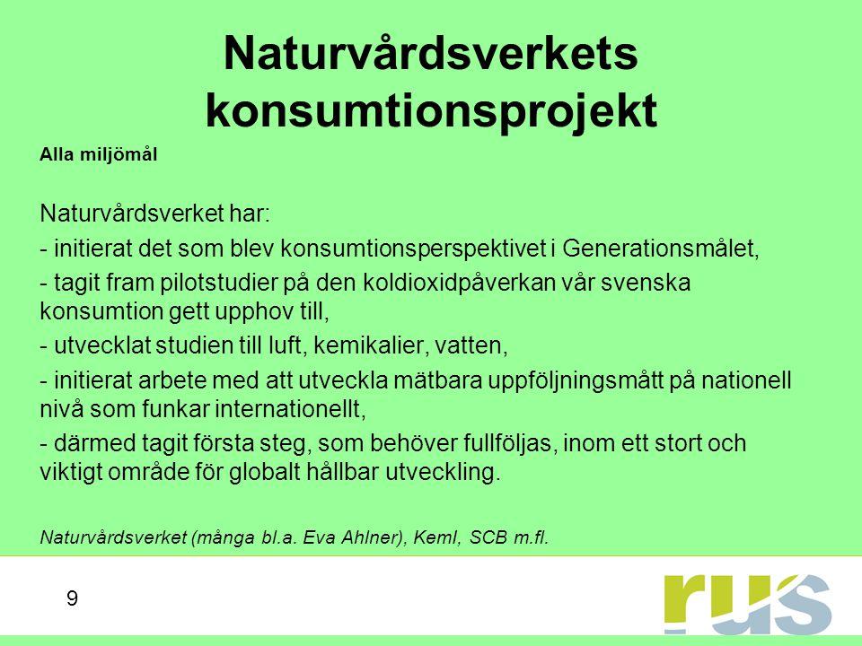Naturvårdsverkets konsumtionsprojekt