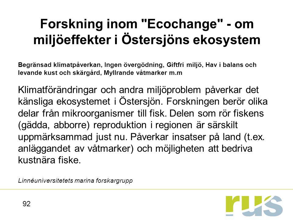 Forskning inom Ecochange - om miljöeffekter i Östersjöns ekosystem