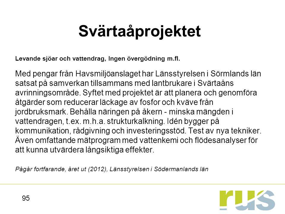 Svärtaåprojektet Levande sjöar och vattendrag, Ingen övergödning m.fl.