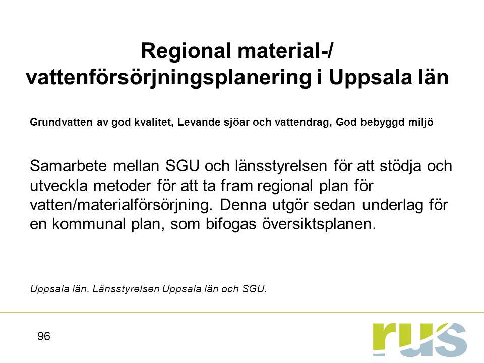 Regional material-/ vattenförsörjningsplanering i Uppsala län