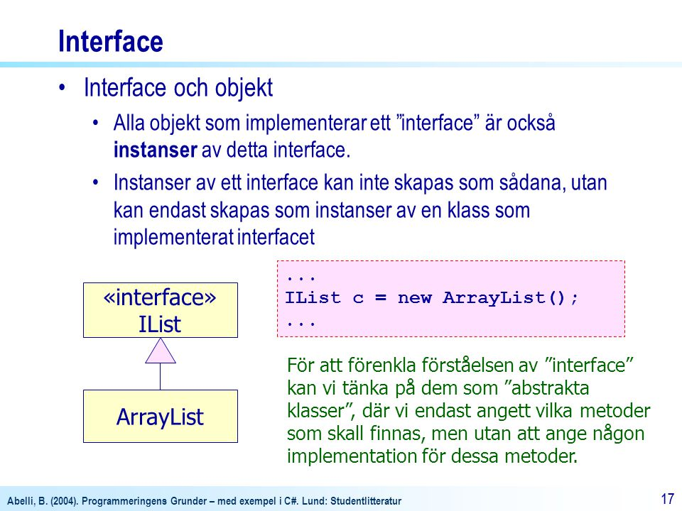 Interface Interface och objekt