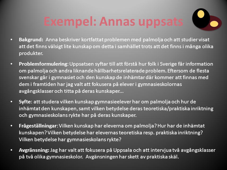 Exempel: Annas uppsats