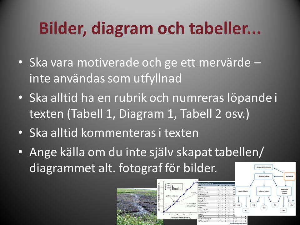 Bilder, diagram och tabeller...