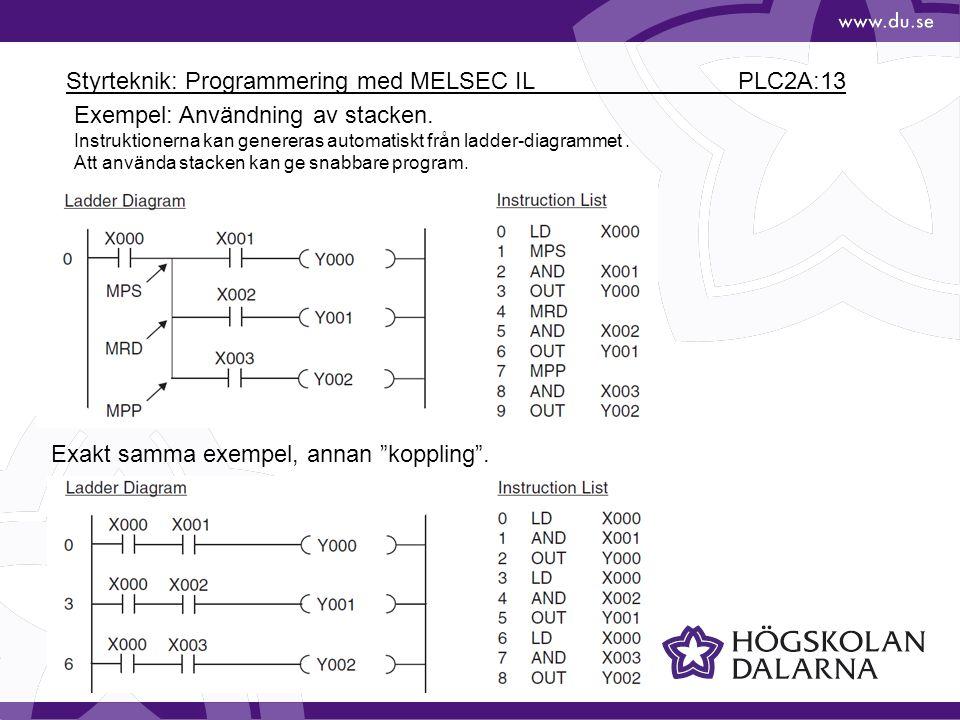 Styrteknik: Programmering med MELSEC IL PLC2A:13