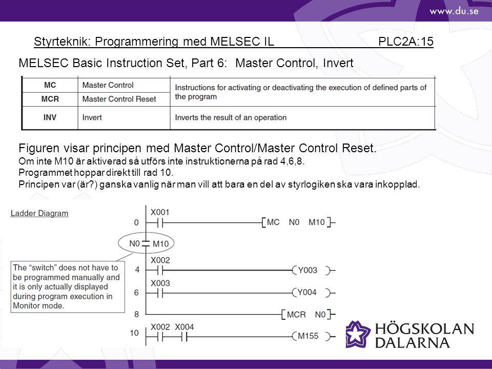 Styrteknik: Programmering med MELSEC IL PLC2A:15