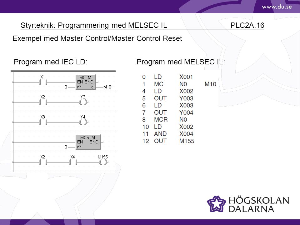 Styrteknik: Programmering med MELSEC IL PLC2A:16