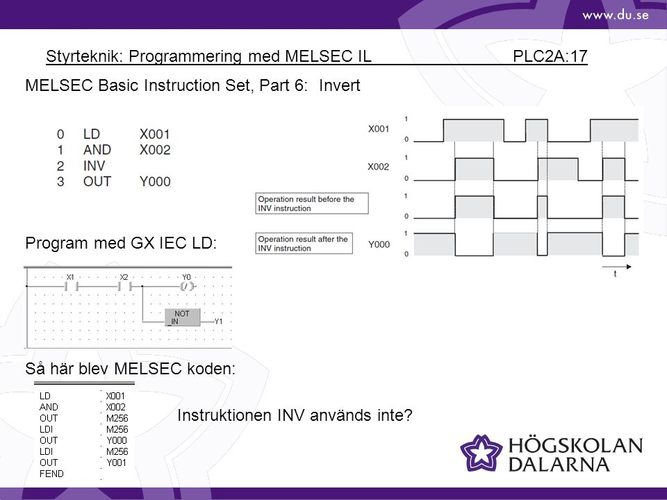 Styrteknik: Programmering med MELSEC IL PLC2A:17