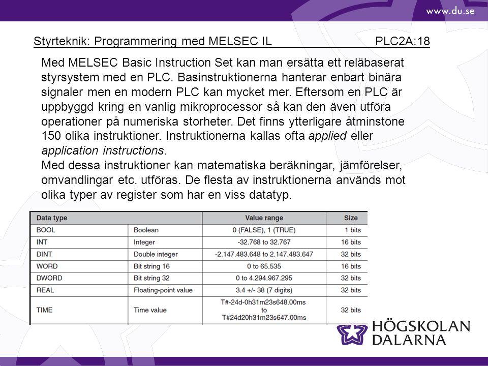 Styrteknik: Programmering med MELSEC IL PLC2A:18