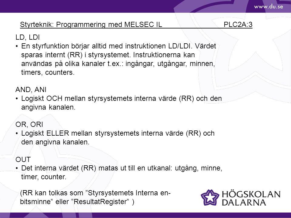 Styrteknik: Programmering med MELSEC IL PLC2A:3