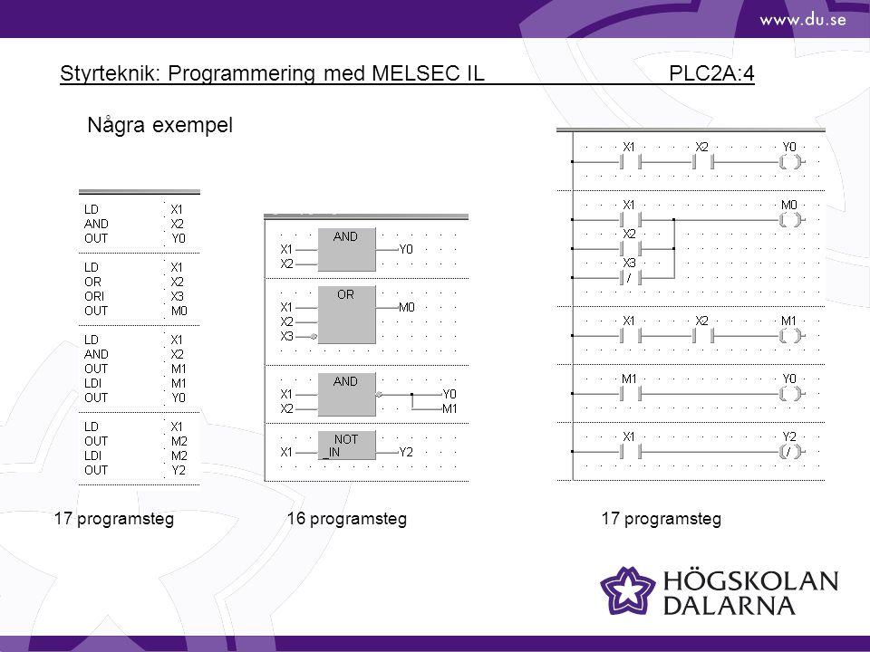 Styrteknik: Programmering med MELSEC IL PLC2A:4