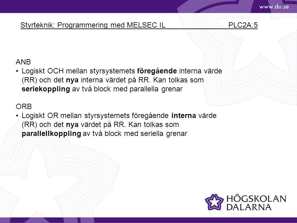 Styrteknik: Programmering med MELSEC IL PLC2A:5